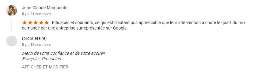 Avis google Prosocius Assainissement