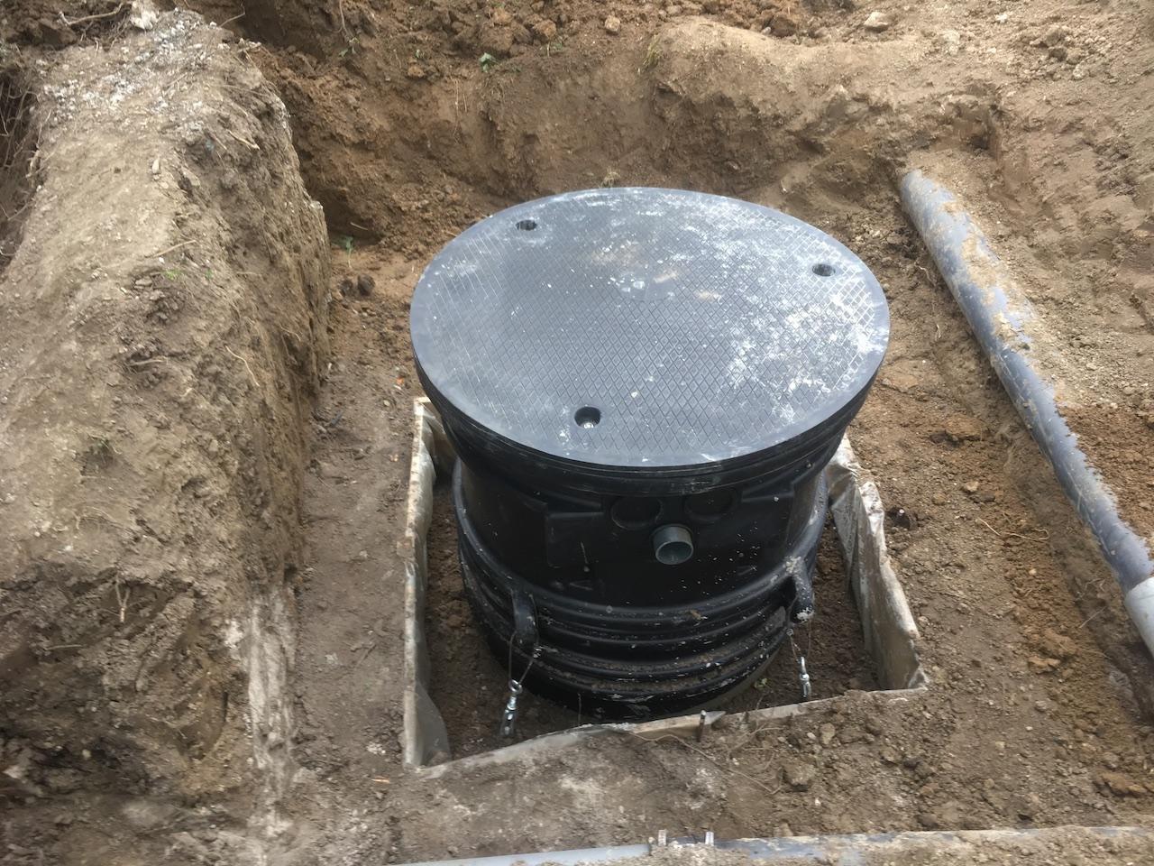 Lestage béton en périphérie de la fosse de relevage
